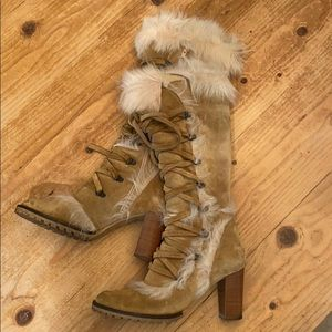 Coach suede with faux fur knee boots